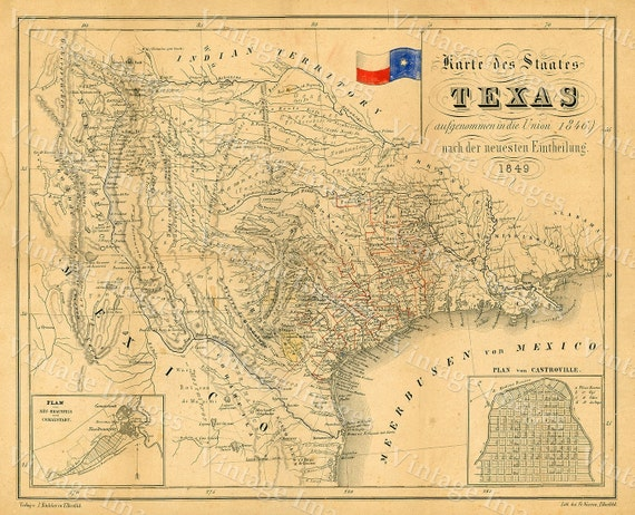 1849 Map of Texas Old Texas Map, TEXAS, Map of Texas, Vintage Map, Restoration decorator Style Texas Wall art German Map Of Texas Wall Art