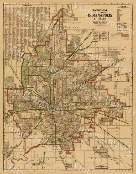 Large Indianapolis Map Historic 1921 Old Antique Restoration decorator Style Map by the National Map Company Fine Art Print Wall Decor