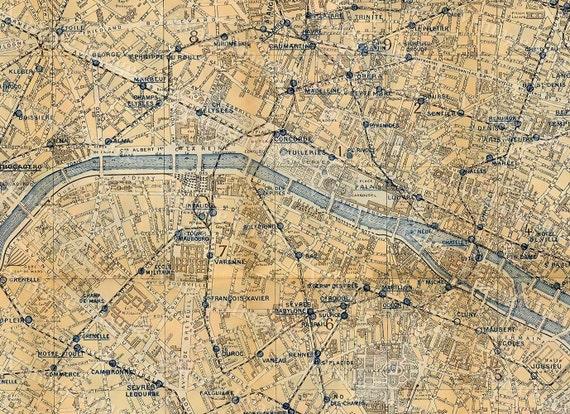 Old Paris Map Vintage Map of Paris City 1928 Paris France restoration deco style Paris Map Fine art Print Home Decor housewarming gift