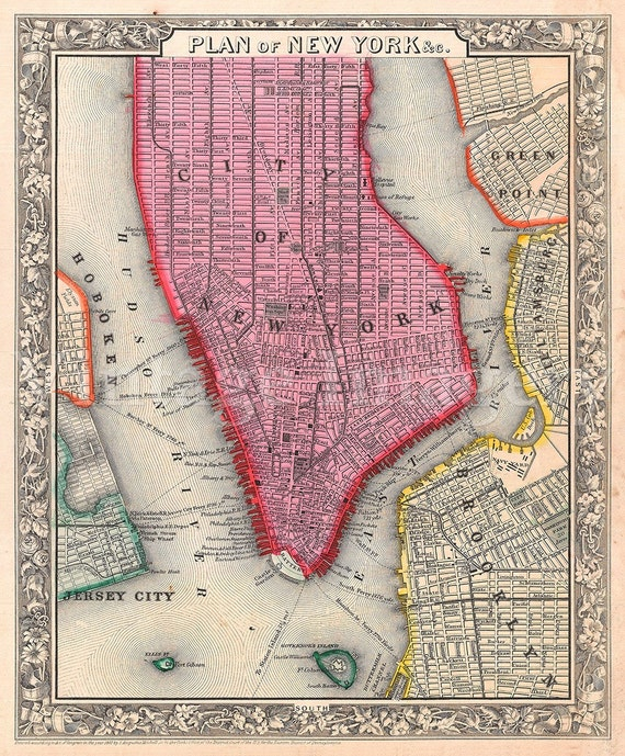 "Old Map of New York City, 1860 Antique Restoration decorator Style NYC MAP sizes up to 43"" x 54"" Old New York map Wall art Fine print"