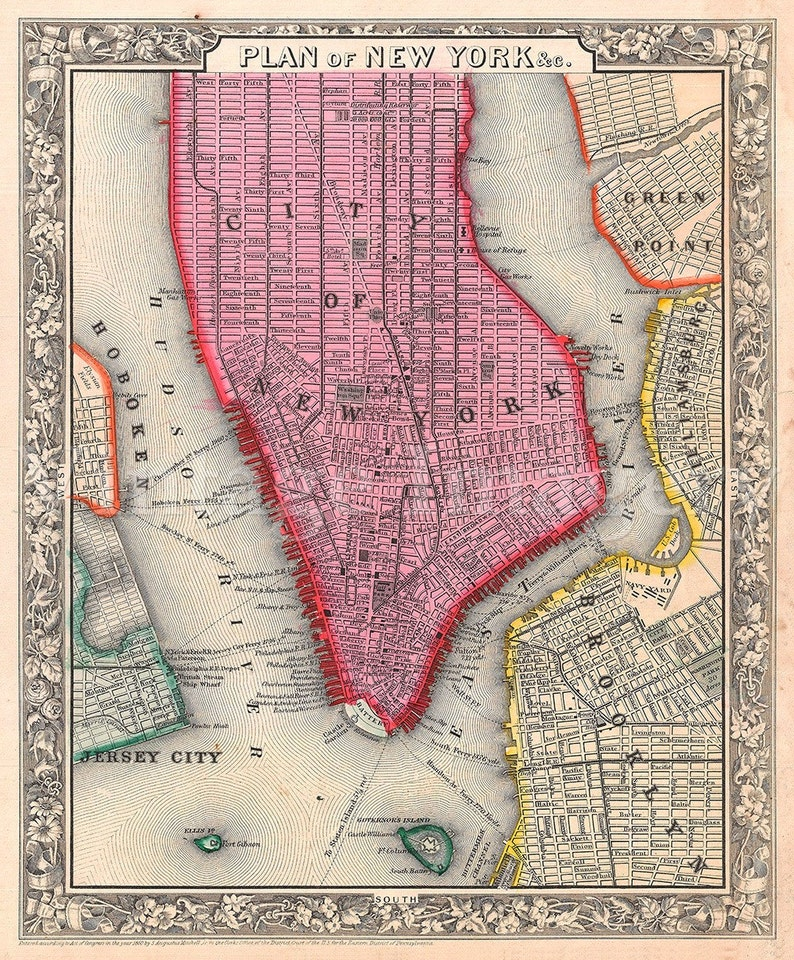 Map Of Old New York.Old Map Of New York City 1860 Antique Restoration Decorator Etsy