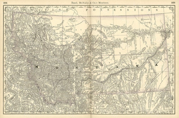 Old Map of Montana MONTANA ART 1888 Antique Restoration Decorator Style Montana Wall map Vintage Montana map wall art home office decor art