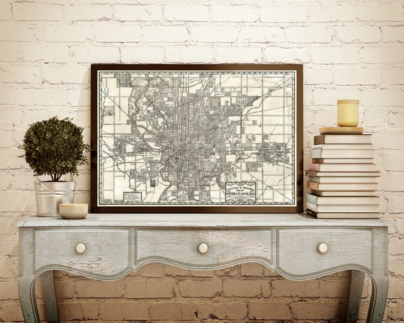Vintage Indianapolis Map Rustic Aged Style Indianapolis bicycle map Indiana Map decor 1899 restoration Style map art print
