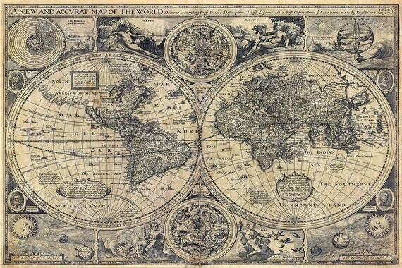 World Map Historic Old World Map 1626 Old Antique Restoration decor Style World Map Fine Art Print Large Old world Wall map home decor