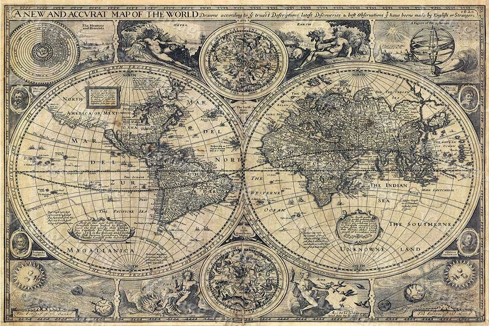 Old World Map World Map Wall Art Antique World Map Large Map Of