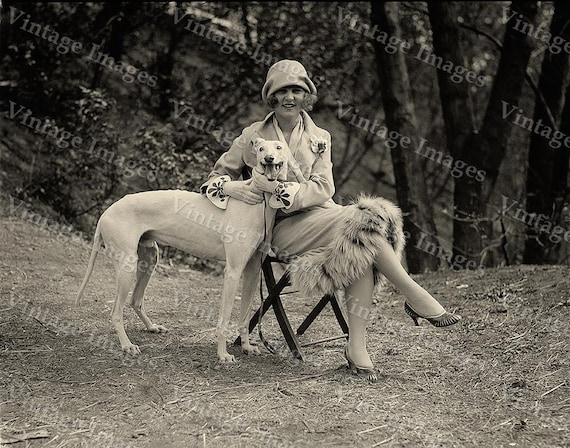 1921 Greyhound Photo Vintage Miss America Black & White Margaret Gorman with greyhound dog Photograph fine art  print wall home decor
