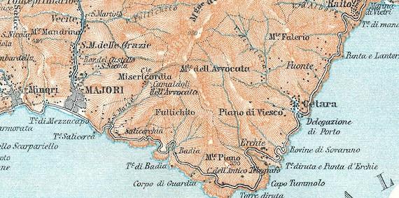1929 Amalfi Coast Vintage Map Print Amalfi Coastline Italy Map Poster Map Of Amalfi Area Italy Coast Housewarming Gift