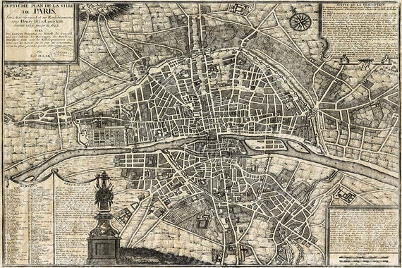 Old Paris Map Restoration Decor Style map Of Paris historic old world Map Street map of Paris France circa 1705 wall map large Paris map