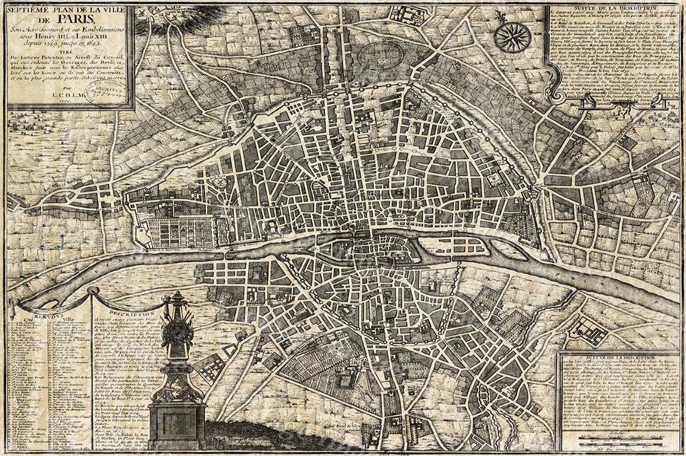 Street World Map.Old Paris Map Restoration Decor Style Map Of Paris Historic Old World