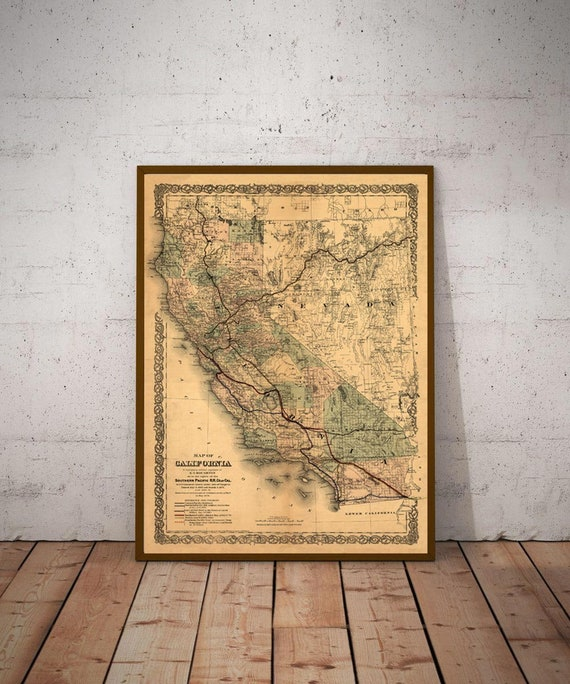1876 old map of California, California Map poster, California Map Print, California Decor, Historical Map, Historical Print, California gift