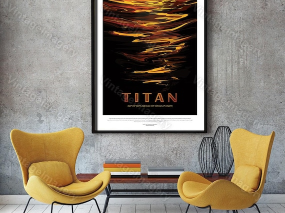 Titan Poster ExoPlanet 2016 NASA/JPL Space Travel Poster Space Art Great Gift idea for Kids Room, Office, man cave, Wall Art Home Decor