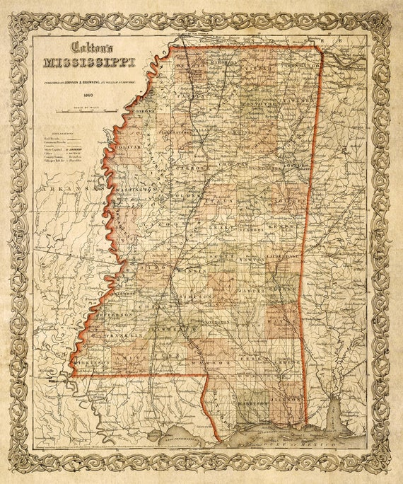 Map of Mississippi 1859 Map of MS Vintage Maps Restoration Decorator Style Mississippi map Wall Map decor new home housewarming gift map art