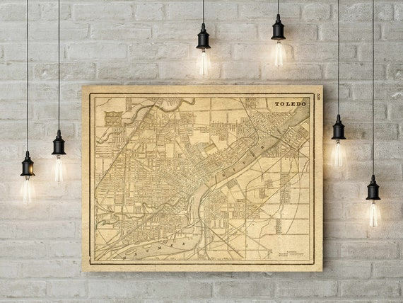 Toledo Wall Map Vintage Map Print 1901 Map of Toledo Poster Toledo Ohio Home Decor   new home gift Housewarming gift map