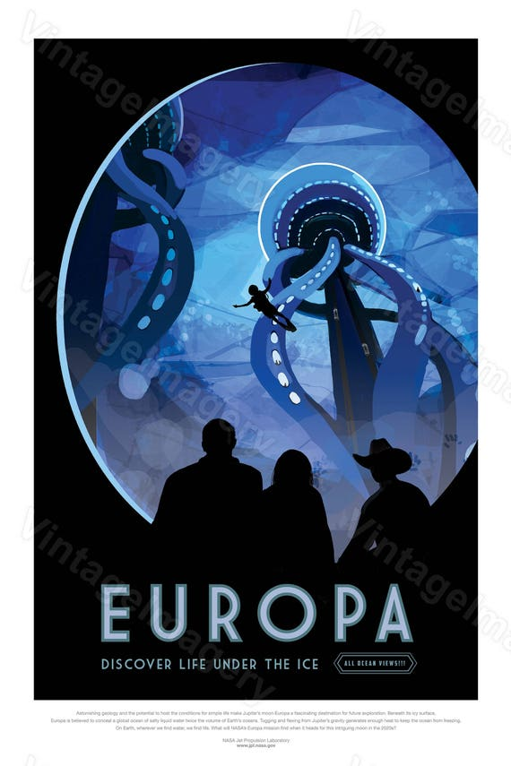 Europa NASA Poster ExoPlanet 2016 NASA/JPL Space Travel Poster Space Art Great Gift idea Astronomy Kids Room Office man cave Wall Art print