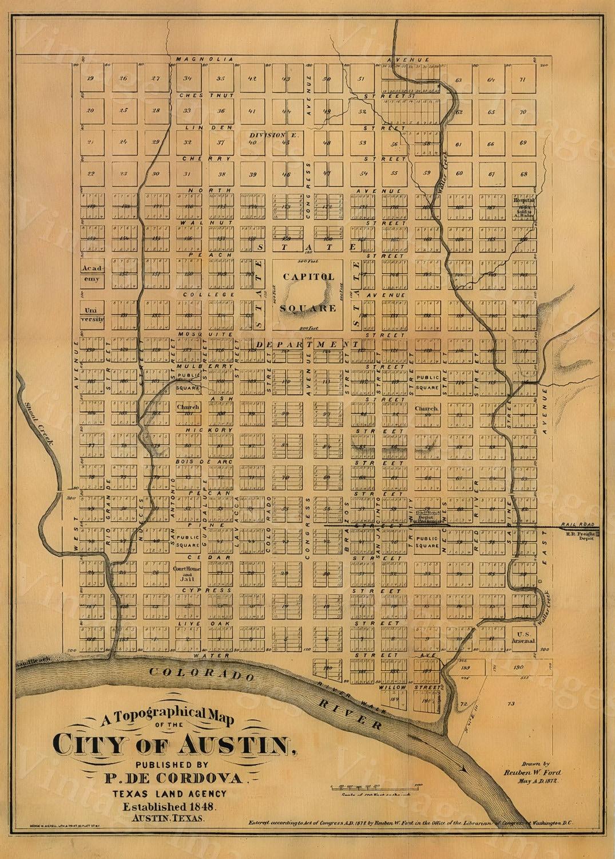 Old Austin Texas Map Vintage Historical map Antique Restoration ...