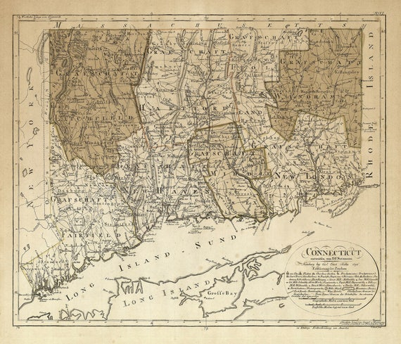 Connecticut map 1796 Historical map of Connecticut Restoration Decorator Style Map CT map Print Large wall map Home office corporate decor