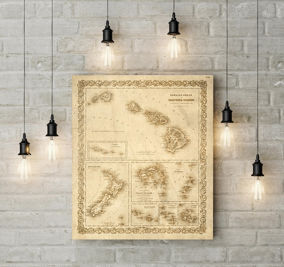 Hawaii map 1856 old map of Hawaii Hawaiian islands map Vintage Old World coastal Living wall chart Sandwich Islands Map Housewarming Gift