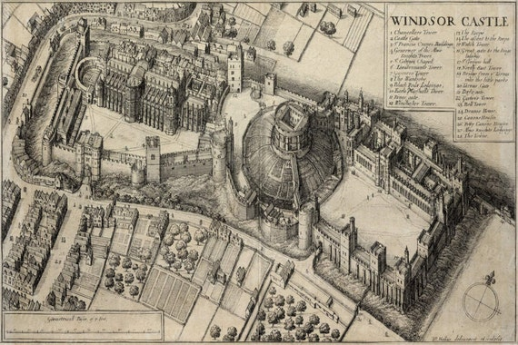 GIANT 1658 Historic bird's-eye view of Windsor Castle Antique Restoration Hardware Style wall Map Antique map wall Decor