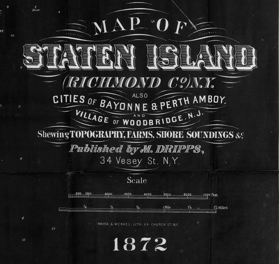 Staten Island Map Print, vintage map of Staten Island, 1872 Black old Staten Island wall map, Old Style New York Map Art Print Gift Idea