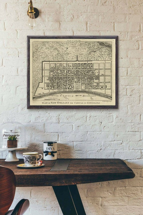 "1761 New Orleans Map, Vintage map reprint, Bourbon Street, Louisiana home decor Map Art large sizes up to 43"" x 53"""