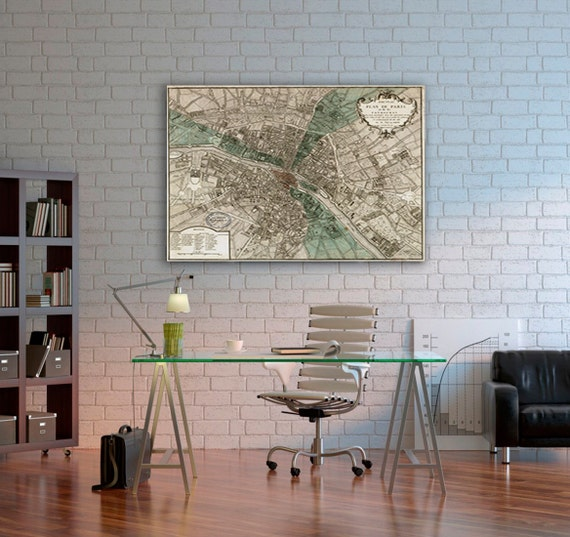 "Old map of Paris (1740) Paris map in 5 sizes up to 42""x53"" (106x135cm) Restoration Decorator Style Vintage map of Paris, France, Home Decor"