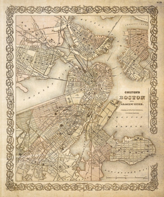 Map of Boston 1886 Boston Map Vintage Boston Map Restoration Decorator Old Style maps Wall Map decor new home housewarming gift map art