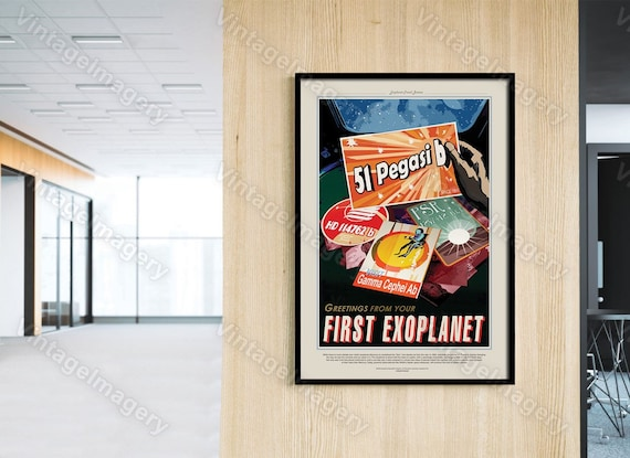 Greetings from your First ExoPlanet 2016 NASA/JPL Space Travel Poster Space Art Great Gift idea for Kids Room, Office, man cave, Wall Art