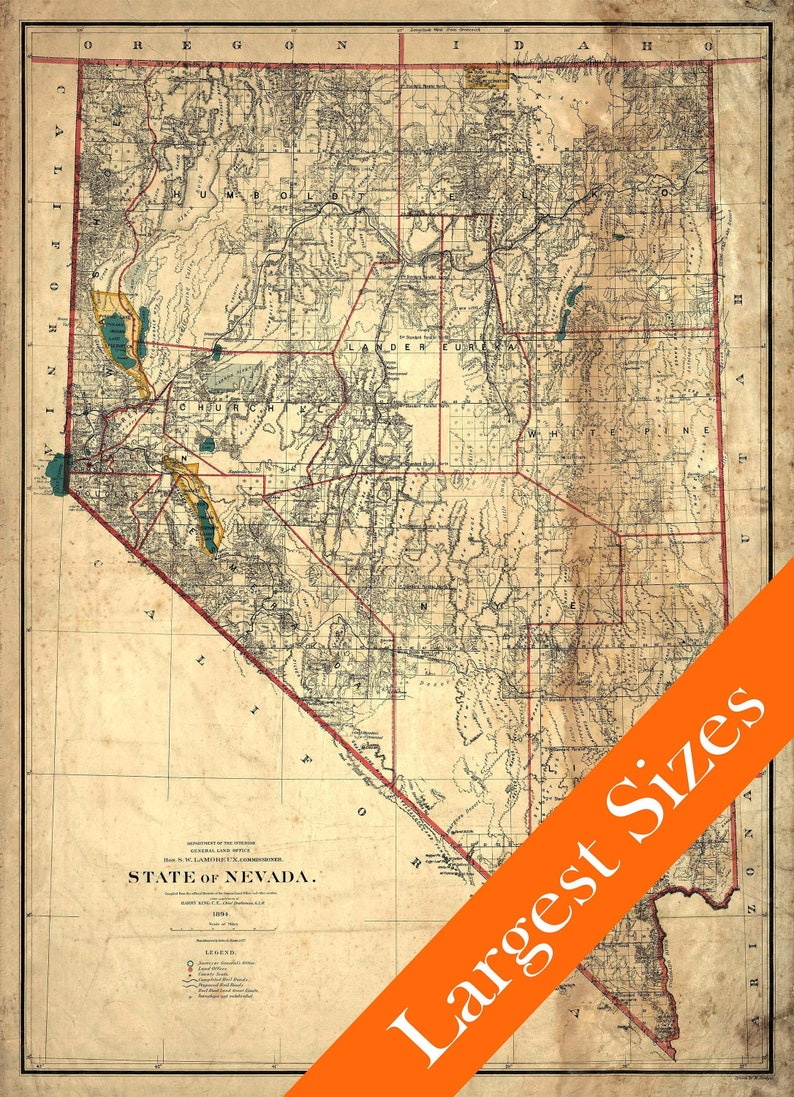 Giant Vintage Map of Nevada aged Style 1894 Old Nevada Home | Etsy