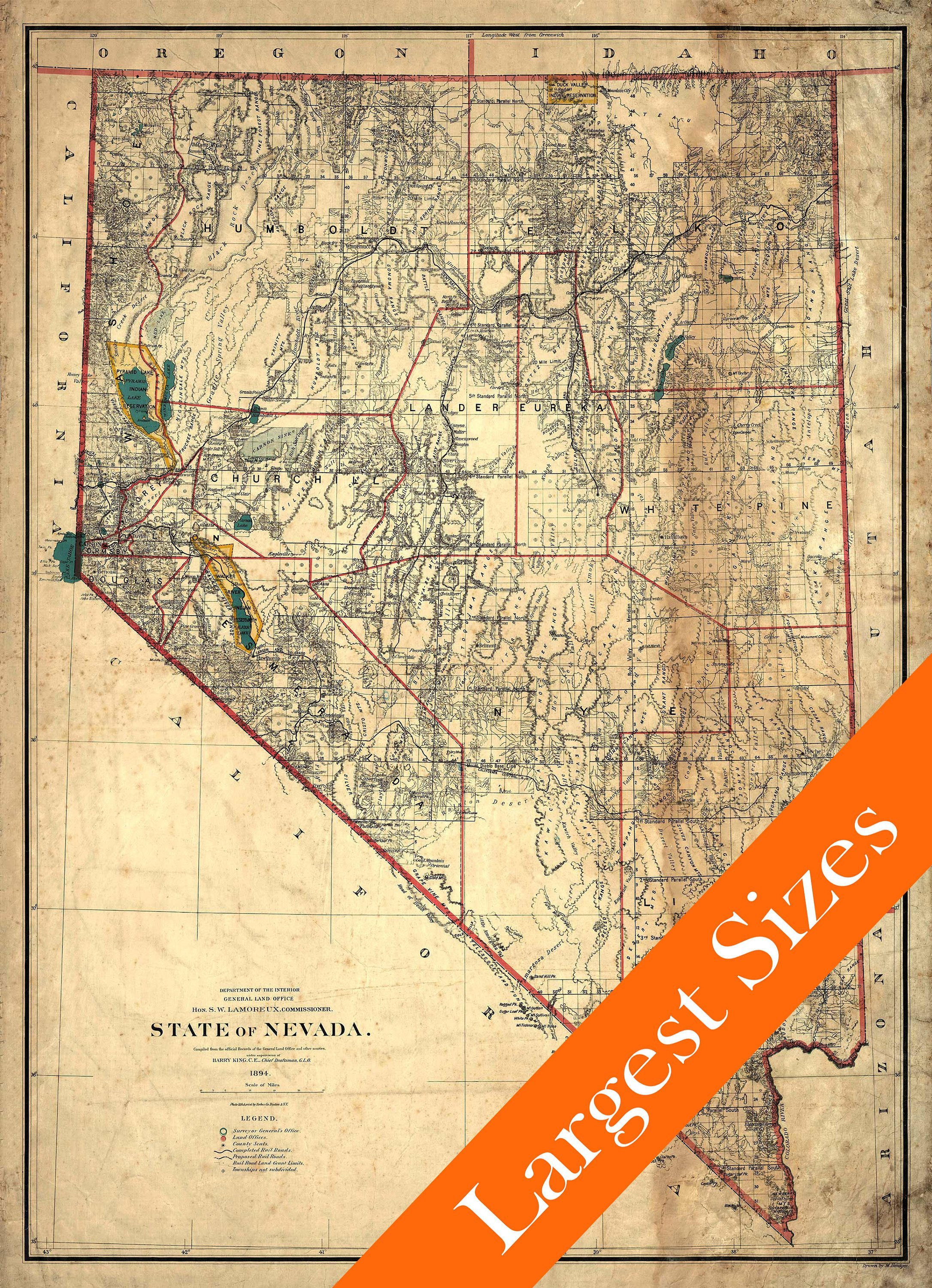 Giant Vintage Map of Nevada aged Style 1894 Old Nevada ...