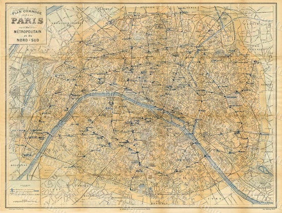 Old Paris Map Vintage Map of Paris City 1928 Paris France restoration deco style Paris Map Fine art Print Home Decor housewarming gift
