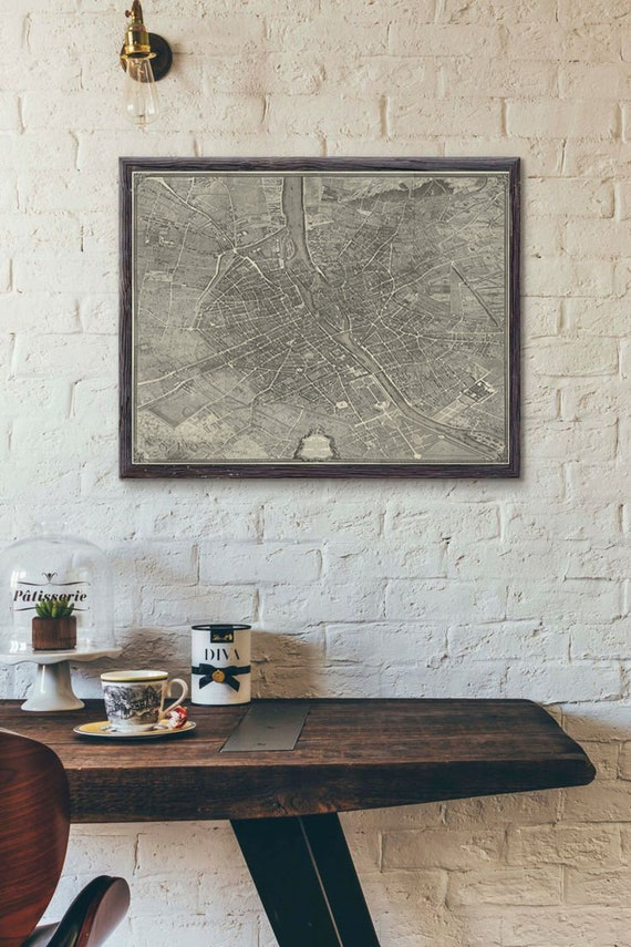 Paris Map Print - Turgot's 1736 Plan de Paris Map : Vintage Paris Map - Archival Giclee Print - Giant Wall Map