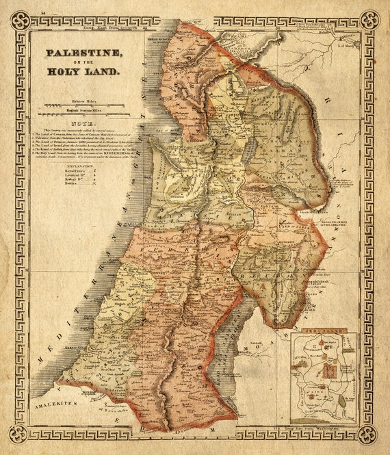 Holy Land map 1865 Map of Palestine Biblical Regions Antique Restoration decorator Style Jerusalem Wall Map Vintage Map Home Decor Gift Idea