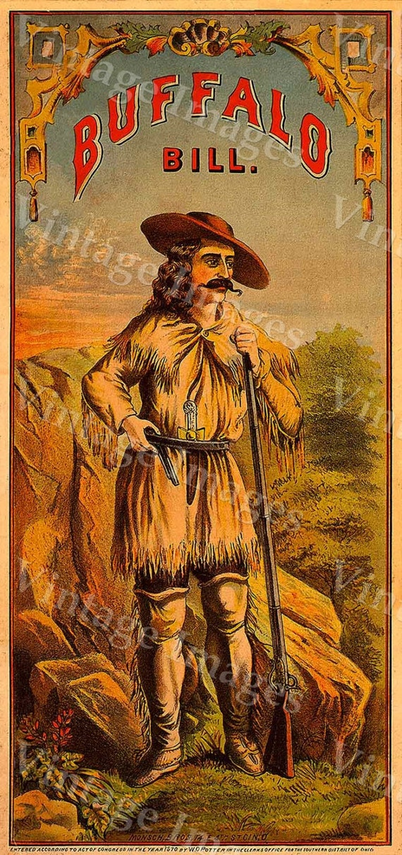 Buffalo Bill Cody tobacco label print poster Old Western Crate Cigar Tobacco Label man cave Poster 8 X 17 Fine Art Print