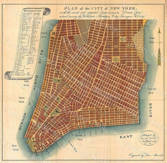vintage New york Map 1807 Giant Historic New York City Map Plan Restoration Decor Style wall Map NYC Old Map Fine Art Print home decor