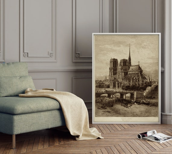 Notre Dame Iconic image architecture Old World Etching Style wall art Historic Notre Dame art Eglise Cathedrale de Paris Fine Art print