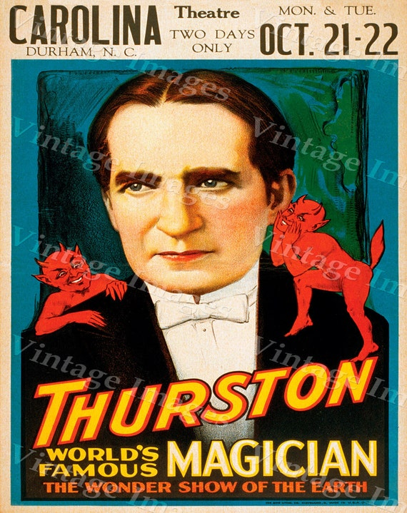 Vintage Magic Poster Theatre room Poster Vaudeville Act Durham Nc Master Mystic Magic Thurston Magician Poster Game Room Fine Art Print