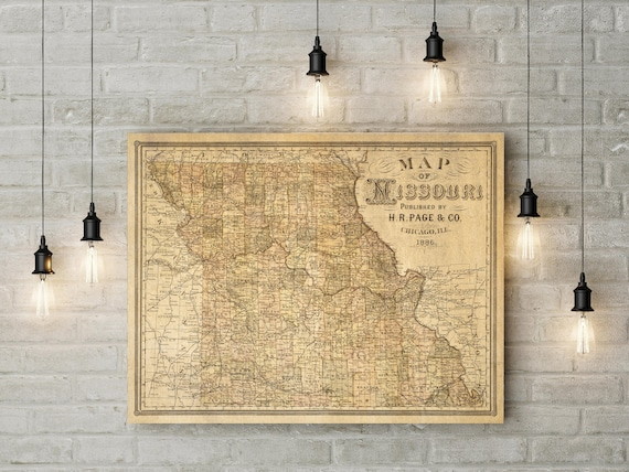 Missouri Map Poster Rustic Vintage Style Travel Map   Map decor Missouri Wall Map Vintage Map Missouri Home Decor Gift