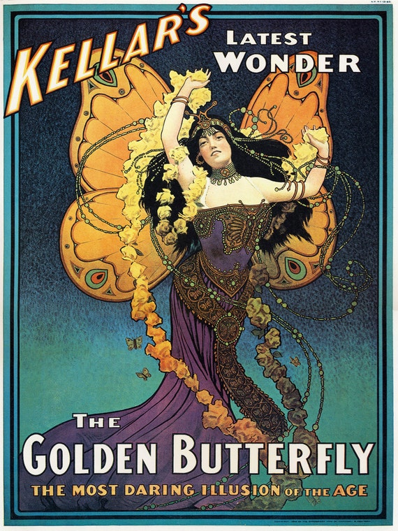 Magic Poster, Magician, Vintage Poster, Kellar Golden Butterfly,  Mystic, Magic, Magician Poster, 18 X 24 Fine Art Print, Magician Gift Idea