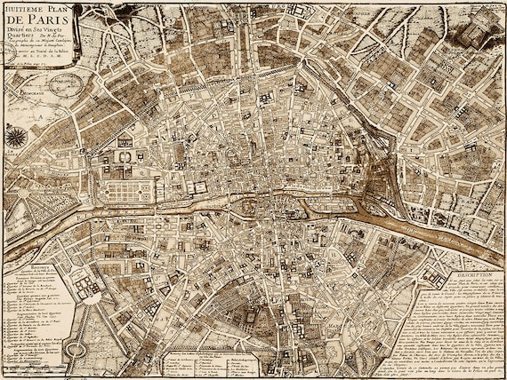 Giant 1705 Paris Map Print Vintage Restoration Style wall map Decor old world Map of Paris France Street map Print anniversary gift
