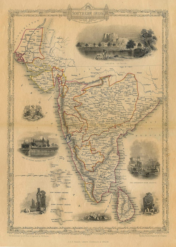Old Map of india 1851 Southern Old India Map Indian Wall Decor Bombay Madras Decorative Map Old World Style Map India Housewarming gift art