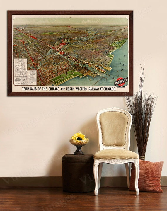 Old map of Chicago (1902) Chicago Railroad map, Chicago Map, Restoration Hardware Style Vintage Railway map, Large Chicago wall Map wall art