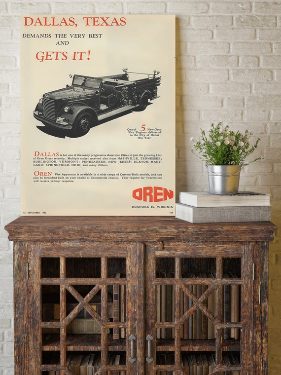 Fire Engine Poster Print Fire Truck wall art 1953 Dallas Fire Department Ad vintage decor Dallas Firefighter Gift Texas Gift