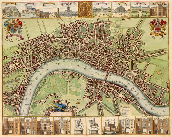 Huge Vintage 1690 historic old world map of LONDON ENGLAND   Fine Art Print Giclee Poster