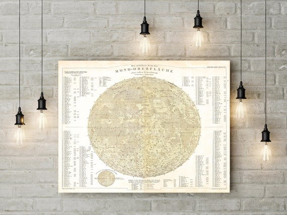 Full Moon Map Moon Poster Vintage Lunar Astronomy Wall Art Print Geography Moon Chart View of the Moon Moon Topography Map Astronomer gift
