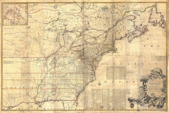 1757 Colonial map, Map of British Colonies, North America, OLD map of New England Coast american colonial Style decor housewarming gift