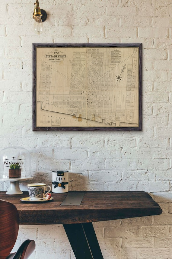 1835 Detroit map Print Map of Detroit Michigan Poster Detroit City map Motor City Map Detroit Wall Art Office Housewarming gift