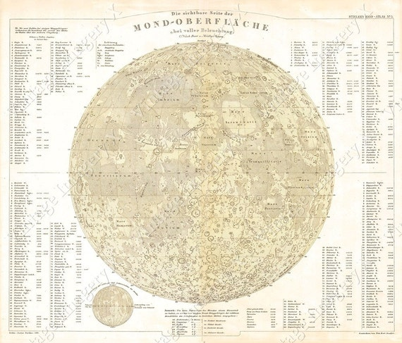 Giant Vintage Historic Perthes 1880 Map Of The Moon Old Antique Lunar Map Restoration decor map style Fine Art Print Giclee Poster eclipse