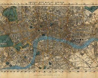 London Map Historic England 1860 Restoration Decor Style Old London Wall Map Vintage Map Of London poster print English gift Map Decor