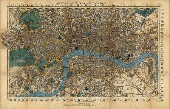 Large Old Map Of London England 1860 Restoration decorator Style London Map Wall Map Vintage London map fine art print old map of England