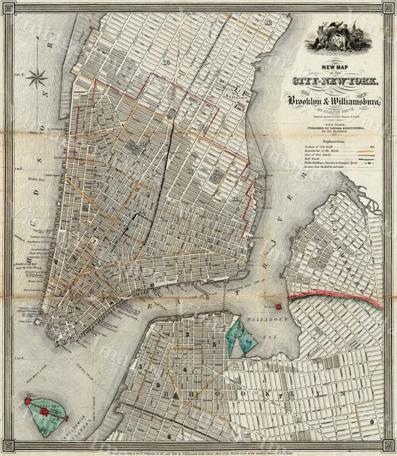 new york map 1840 Old Map Of New York City Vintage Manhattan Map Brooklyn Map Historic Map Old Restoration decorator Style NYC map decor